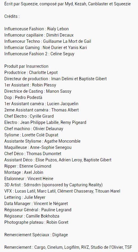 """Liste de l'équipe ayant participé à la création du clip """"Influenceur"""" de Squeezie"""
