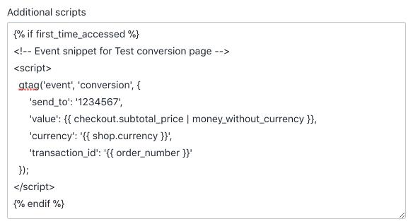 Code de suivi de conversion Google Ads avec variables Shopify