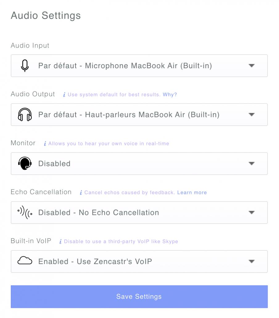 Retour audio et périphériques sur Zencastr